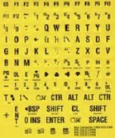 Keyboard stickers black on yellow